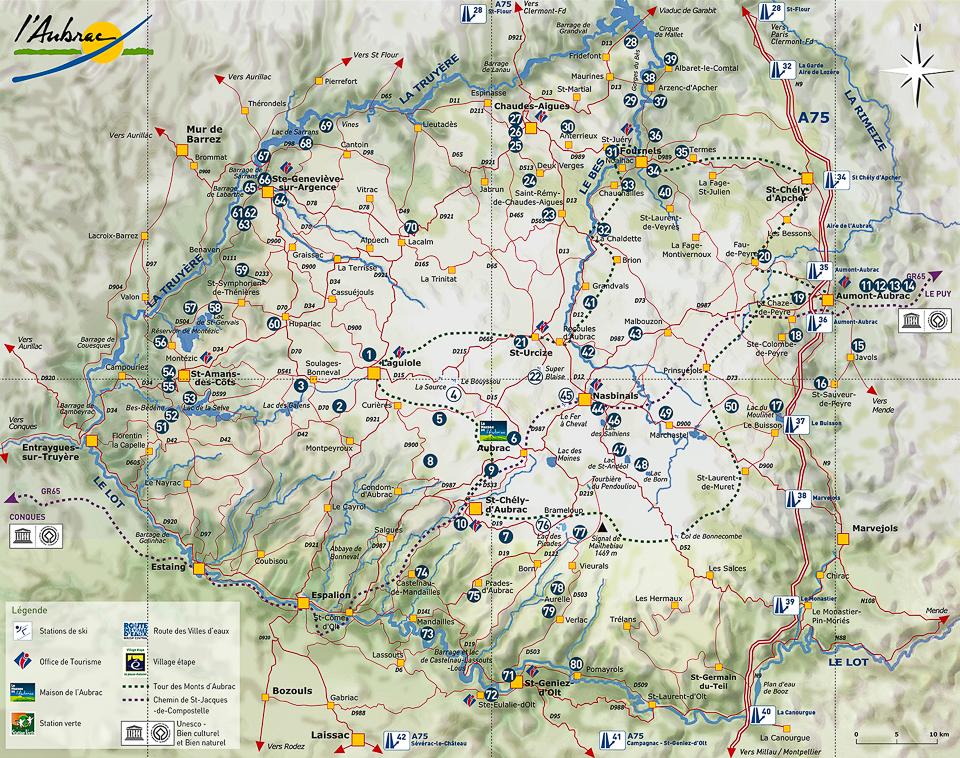 plateau de l aubrac carte Situation géographique